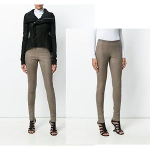 RICK OWENS F/W 2015 Stretch Leather Brown Leggings